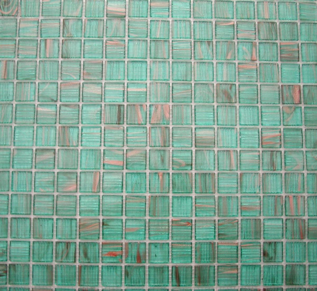 Mosaique sol et mur vert turquoise Aqua semi-translucide gemmé au M² ...