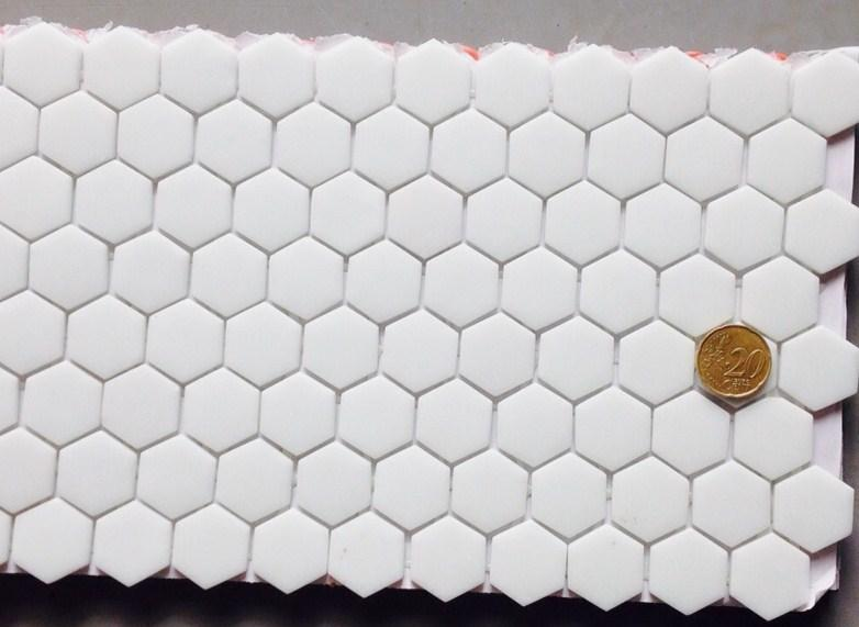 Blanc Hexagone Mosaique Emaux Brillant Plaque En Htk