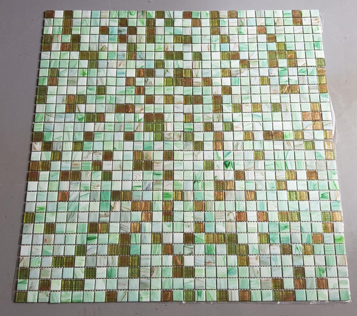 Vert mosaïque pâte de verre mélange vert botanic marbré gemmés plaque