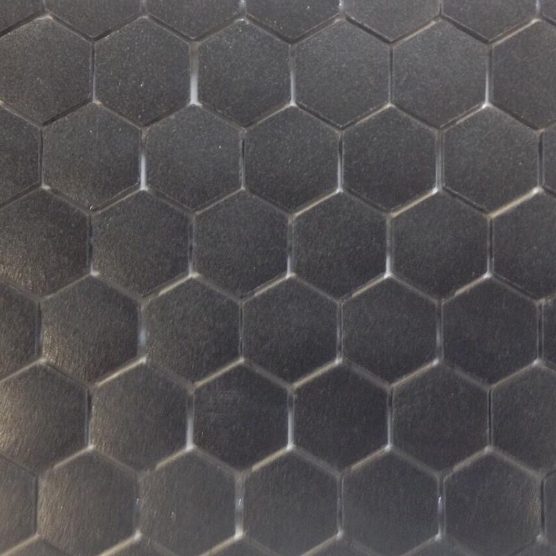 Noir uni hexagone mosaïque émaux mat au M²