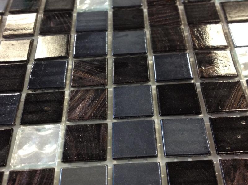 mosa que p tes de verre gemme au m mosa que de p te de verre tons noir et argent 2 cm. Black Bedroom Furniture Sets. Home Design Ideas