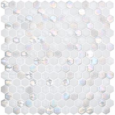 Mosa que emaux de briare hexagonaux blanc nacr en plaque for Carreaux de briare