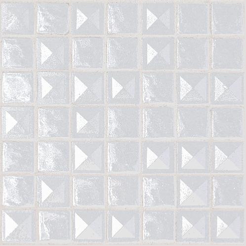 mosa que maux de verre blanc pyramide relief par plaque de 33 5 cm achat mosaique salle de bain. Black Bedroom Furniture Sets. Home Design Ideas