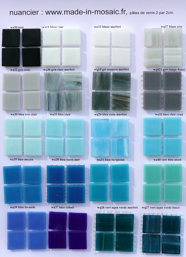 a nuancier mosaique p te de verre uni gris bleu. Black Bedroom Furniture Sets. Home Design Ideas