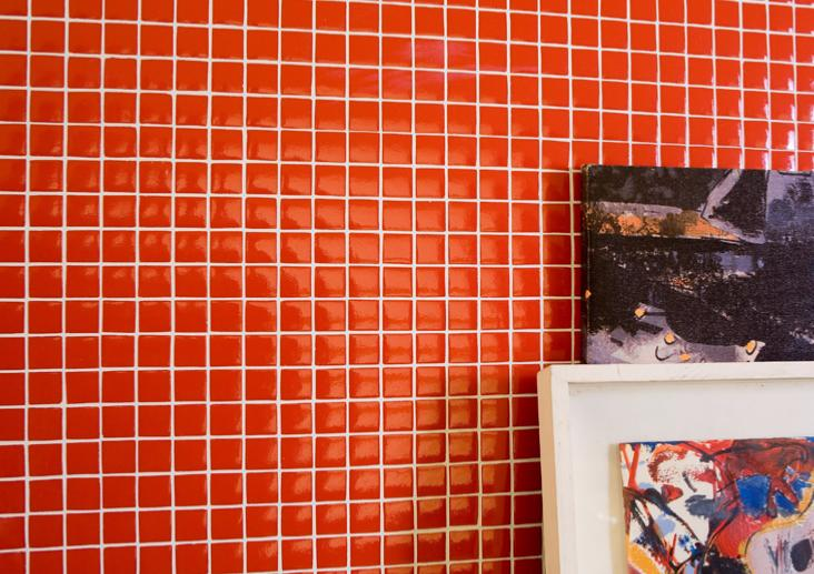 Rouge brique 4 cm mosaïque émaux par plaque