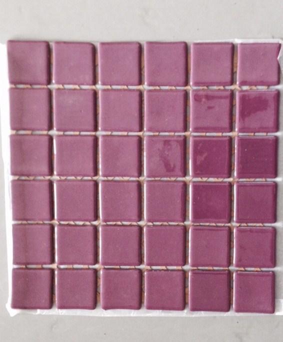 Mosa que maux de verre rose mauve fonc 5 cm par plaque for Carrelage aubergine