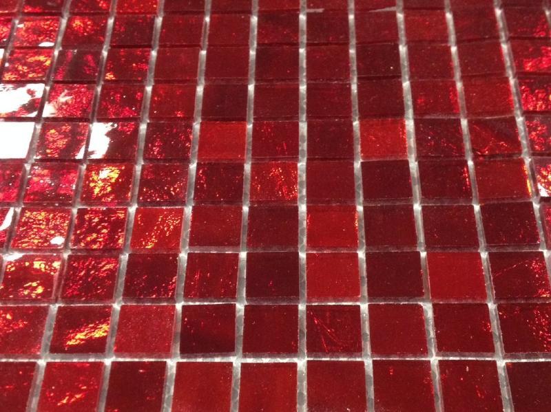 Mosa que miroir et verre mosaique rouge rubis 1 5 cm en for Piscine bord miroir