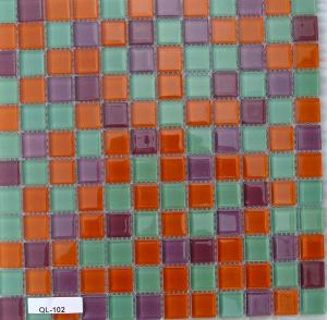 Orange mosaïque mix orange vert turquoise mauve parme brillant vetrocristal à la plaque 30 cm
