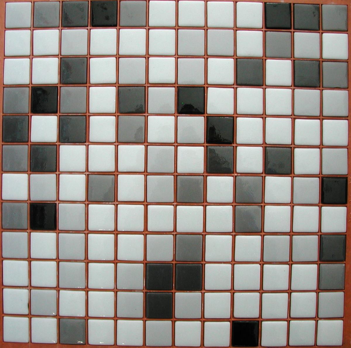 Blanc noir gris mélange MALDIVE N°6-7-10 mosaïque émaux brillant mix  couleurs plaque