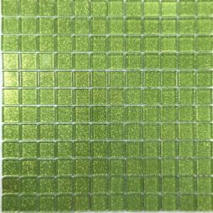 Mosaïque émaux de verre vert acidulé pailleté plaque - Achat de ...