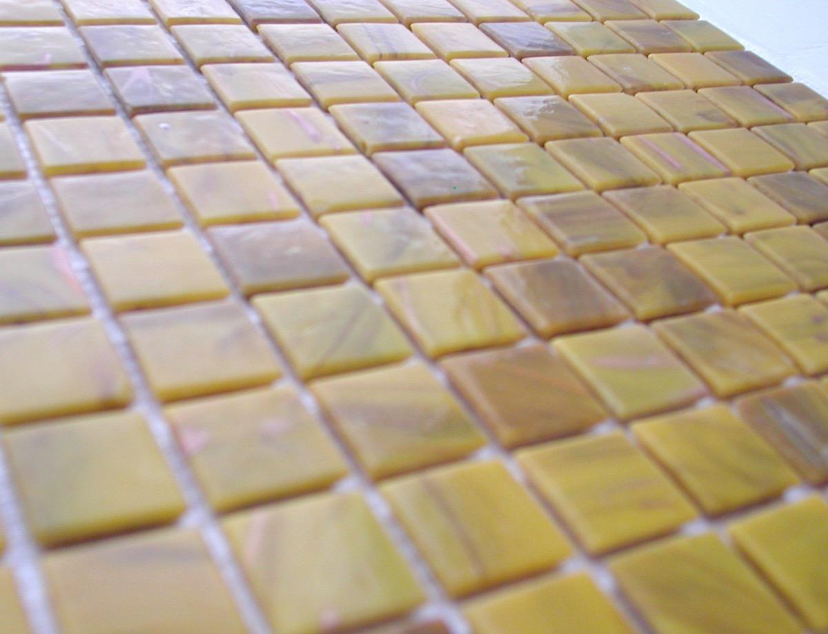 Jaune Safran Mosaïque Pâtes De Verre Gemmés Par 25 Carreaux