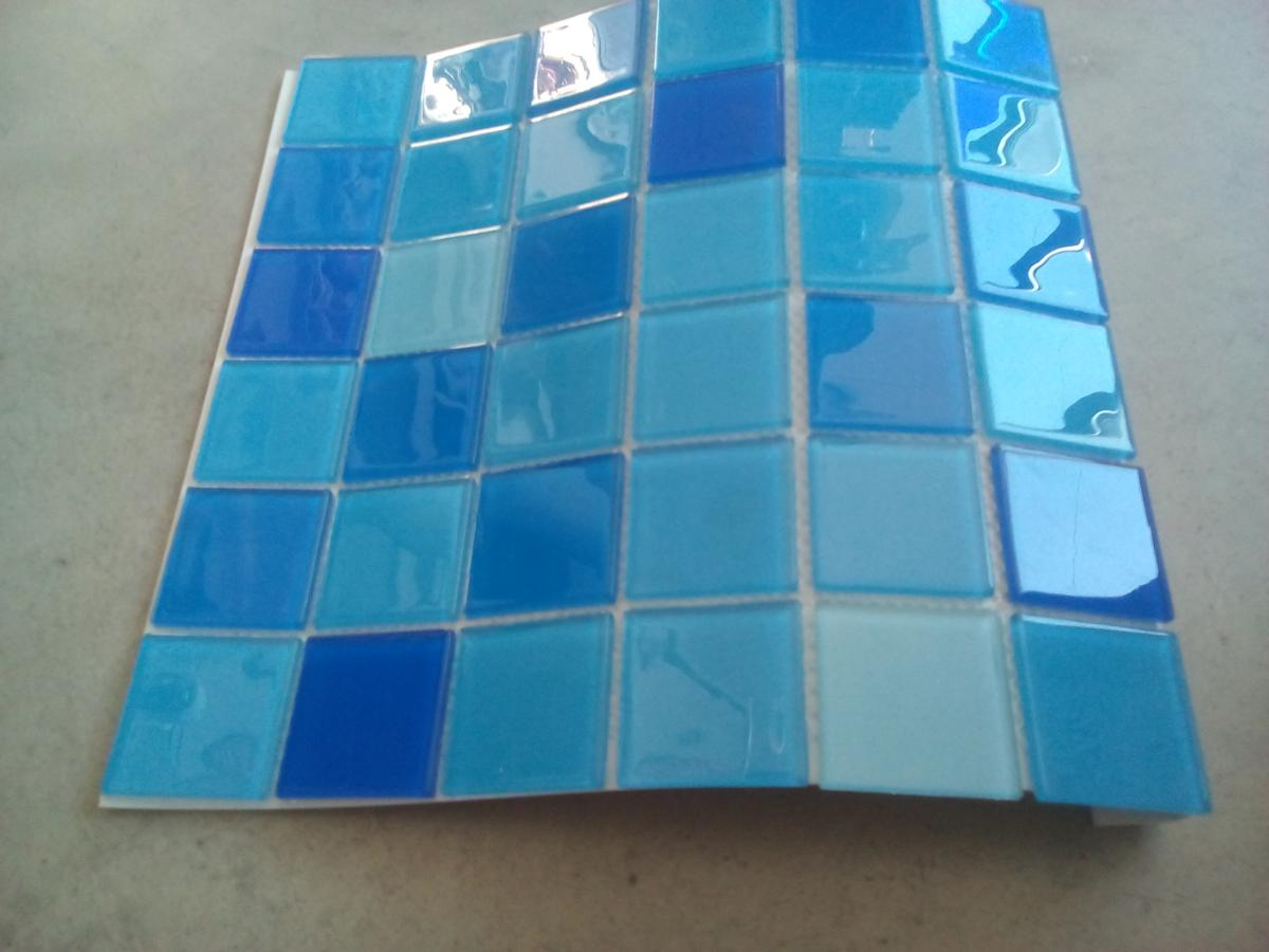 Mosaïque pâte de verre plaque couleur mix bleu 4.8 cm- Vente de ...
