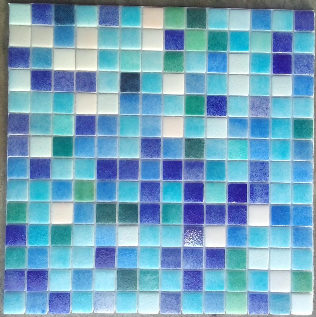 Mosa que p te de verre carr blanc bleu vert plaque - Plaque de mosaique salle de bain ...