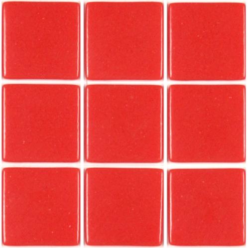 Rouge corail uni mosaïque émaux brillant pleine masse plaque