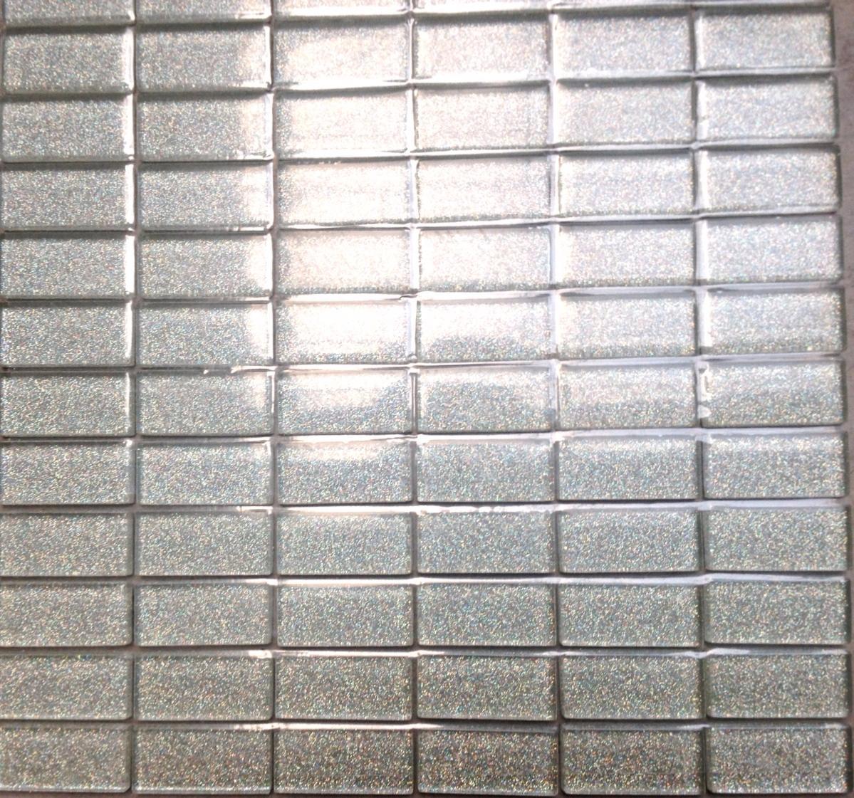 Plaque Sur Carrelage Cuisine argent mosaïque paillette rectangle 23 mm par 48 mm émaux vetrocristal par  plaque