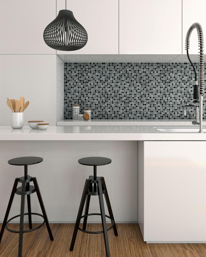 mosa que carreau ciment tons noir par plaque de 30 cm achat mosaique salle de bain. Black Bedroom Furniture Sets. Home Design Ideas
