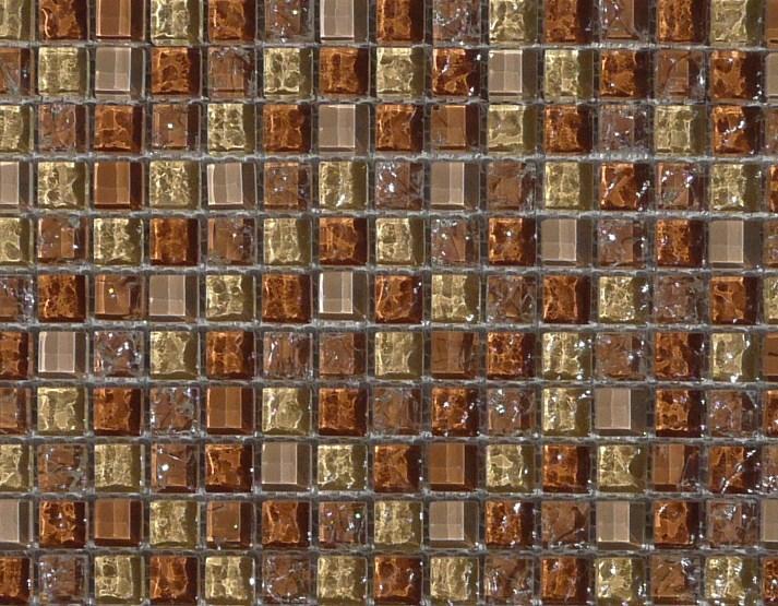 Mosa que p te de verre brun mix chamois martel plaque for Mosaique salle de bain pate de verre
