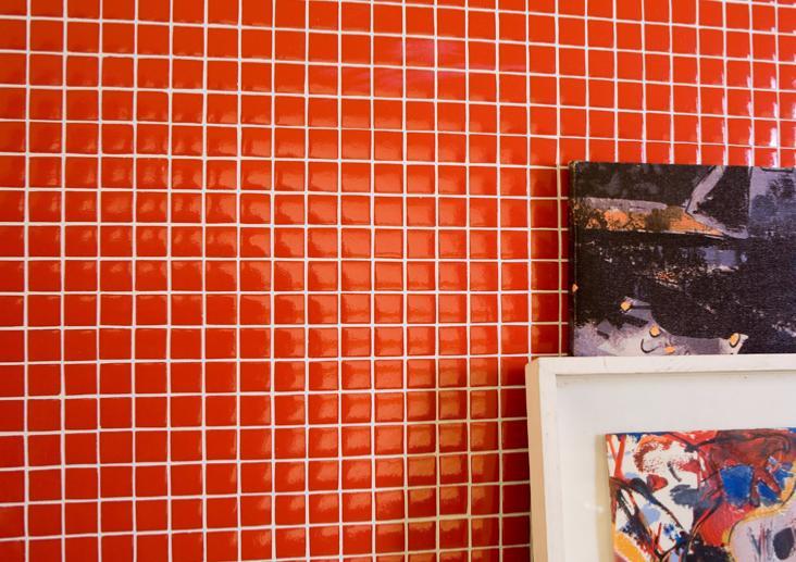 rouge corail uni mosaque maux brillant - Mosaique Salle De Bain Rouge
