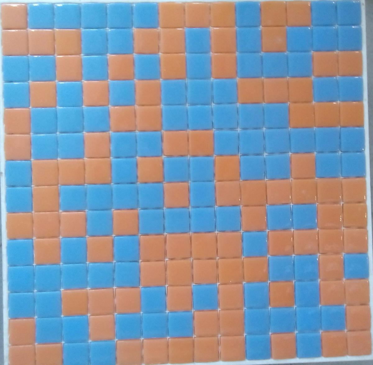 Mosaique Salle De Bain Bleu ~ mosa que p te de verre carr l orange bleu plaque achat de