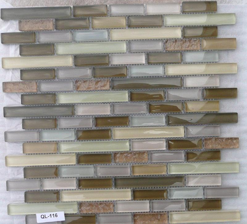 Mosaique p te de verre barrette brun taupe plaque vente for Carrelage salle de bain mosaique beige