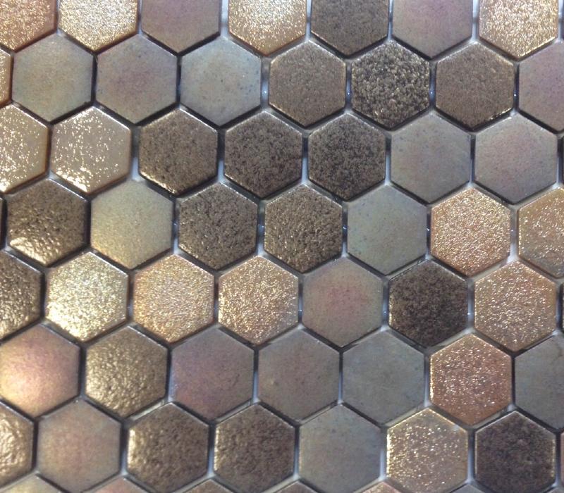 Mosa que p te de verre hexagone brun cuivre plaque achat - Salle de bain cuivre ...